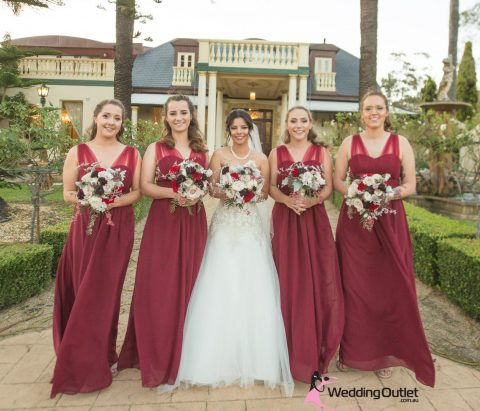 Burgundy Bridesmaid Dress Style #AK101