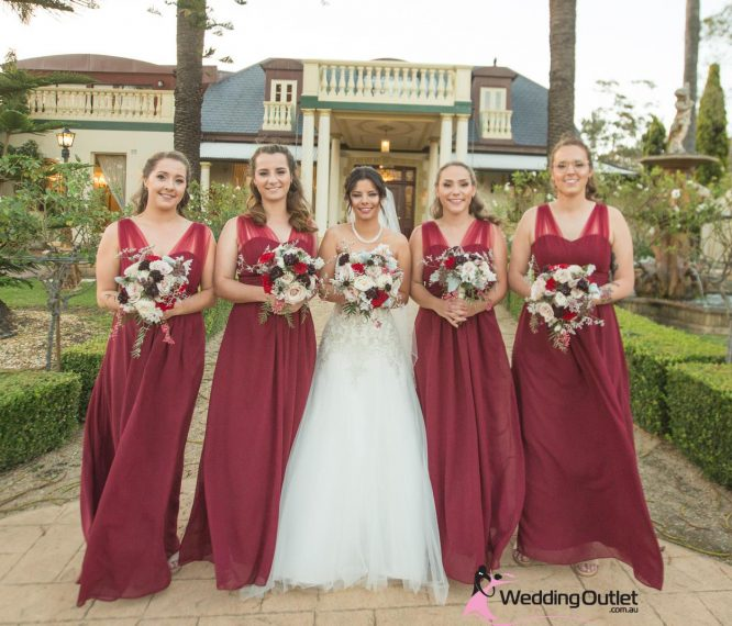 Burgundy Bridesmaid Dress Style #AK101