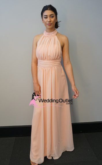 Baby Peach Halter Neck Bridesmaid Dress Style #AV101