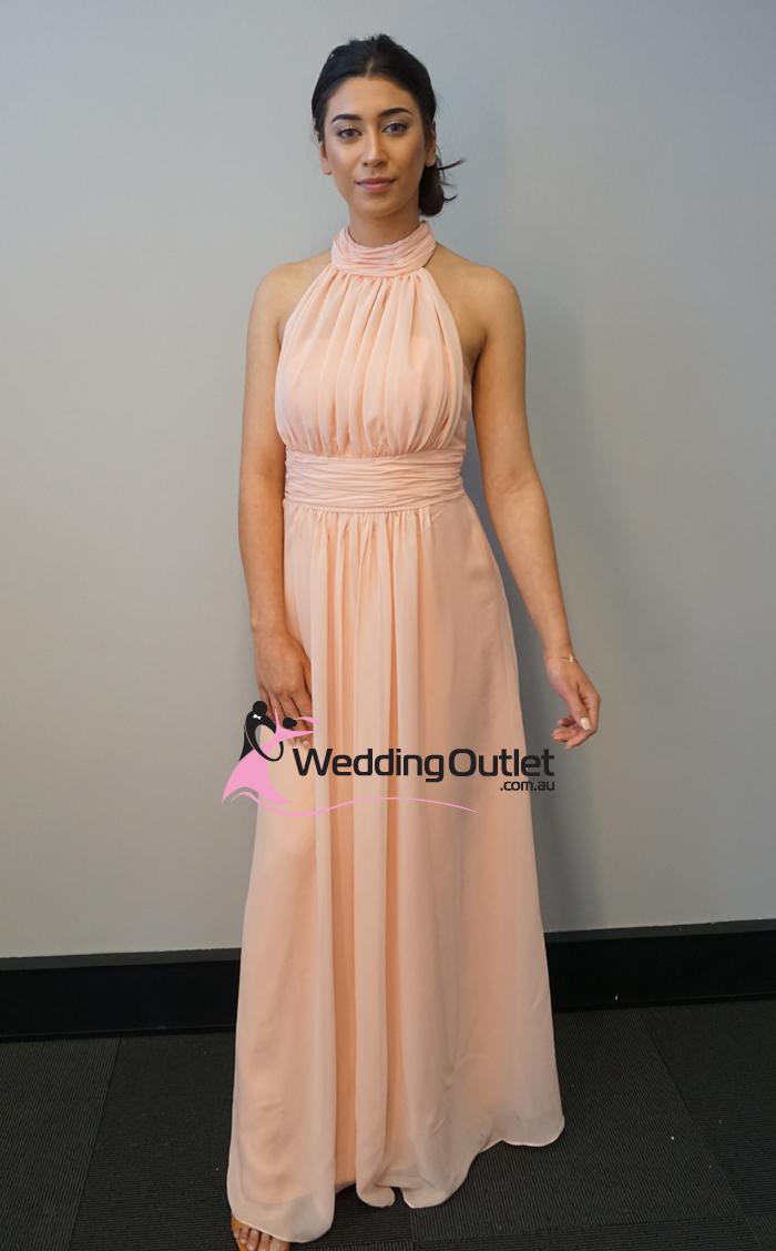 Baby peach halter neck bridesmaid dress style av101 for Wedding dress neckline styles