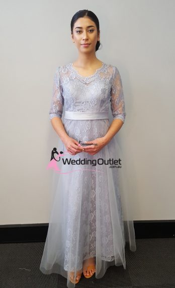 Silver Lace Long Sleeve Evening Dress Style #AB1111