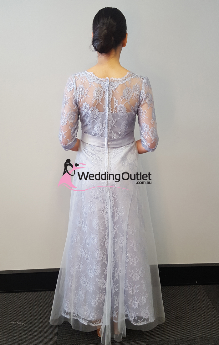 Silver Lace Long Sleeve Evening Dress Style Ab1111