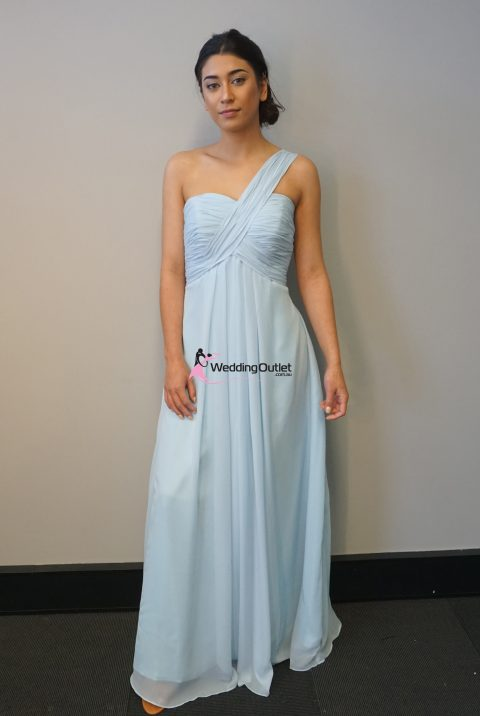 Misty Blue One Shoulder Bridesmaid Dress #F101