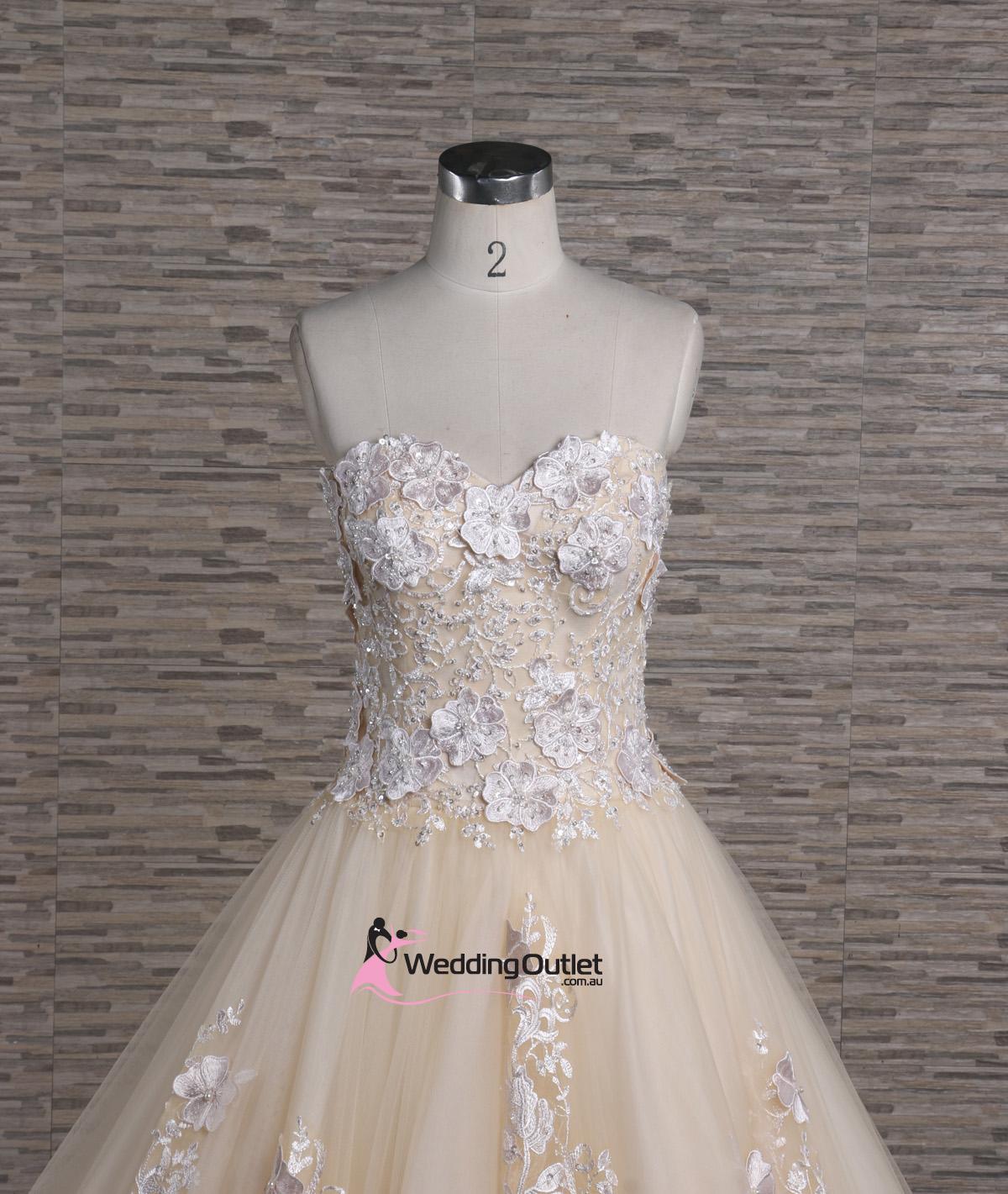 Ziggy 3d lace strapless champagne wedding dress for Flowers for champagne wedding dress