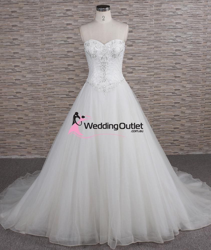 Quinn Strapless Beaded Aline Wedding Dress - WeddingOutlet.com.au