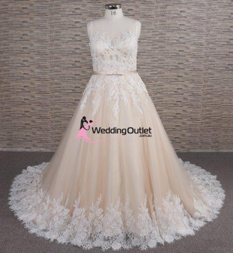 Khloe Champagne Lace Aline Wedding Dress