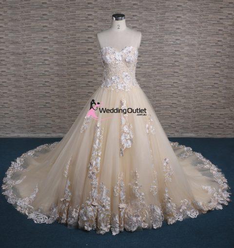 Ziggy 3D Lace Strapless Champagne Wedding Dress