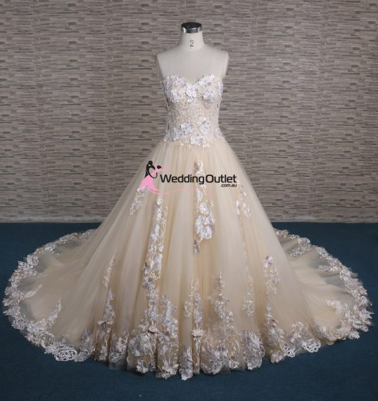 Ziggy 3D Lace Strapless Champagne Wedding Dress