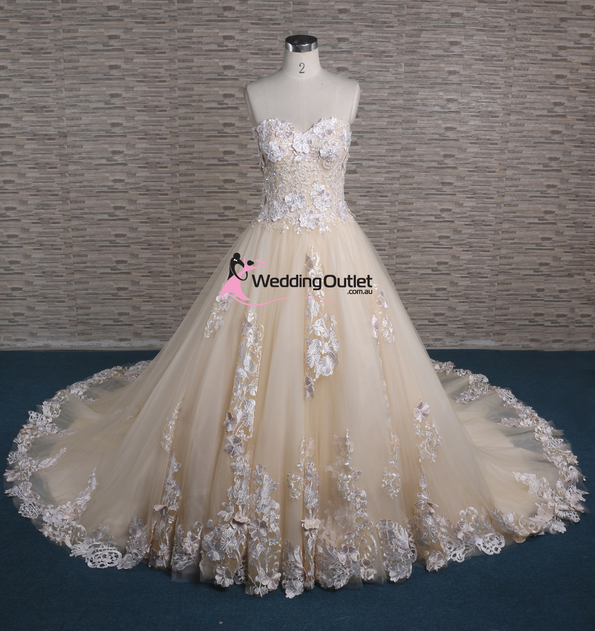 Ziggy 3d lace strapless champagne wedding dress for Wedding dress champagne lace