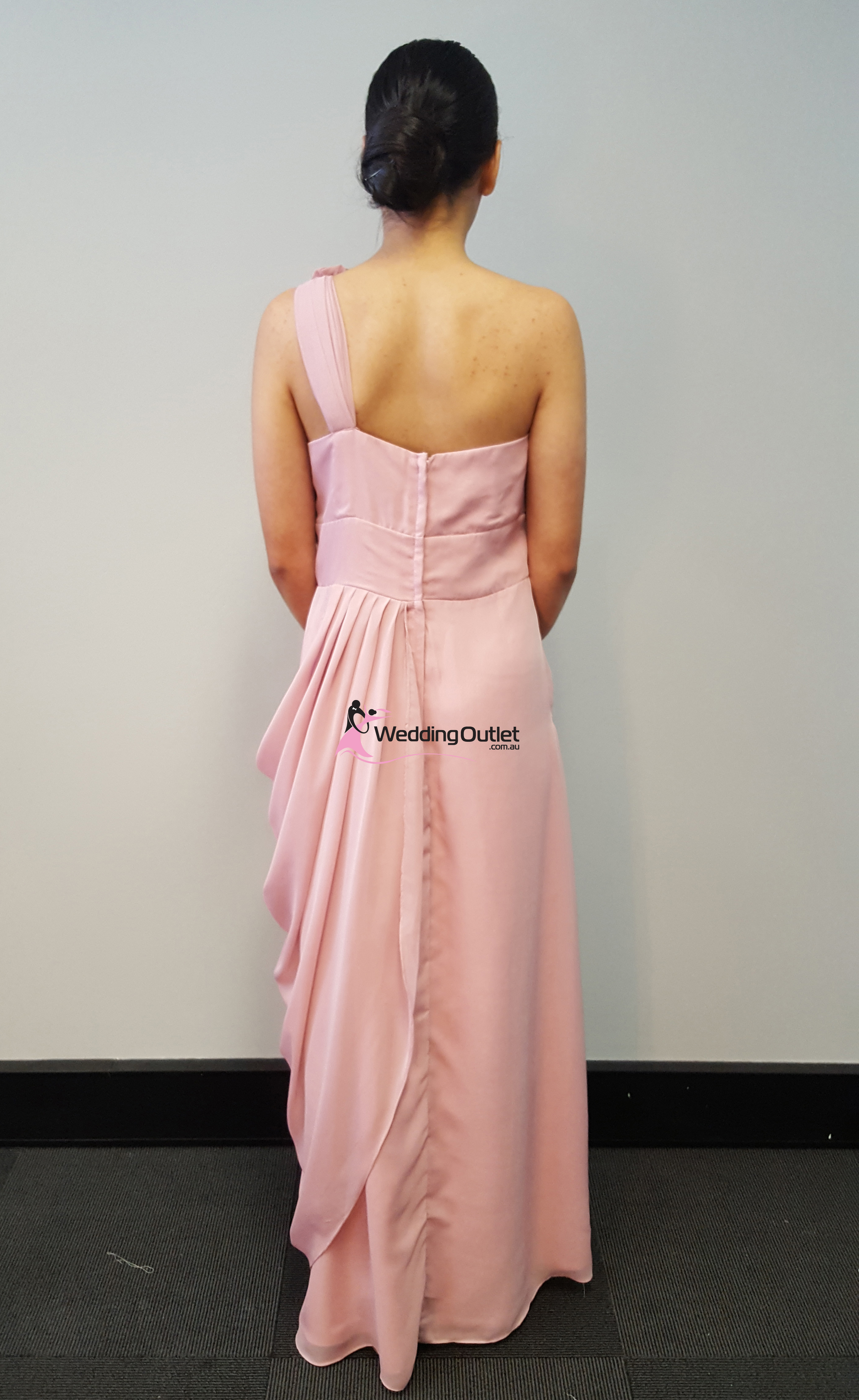 Tan One Sleeve Bridesmaid Dress Style #C101 - WeddingOutlet.com.au