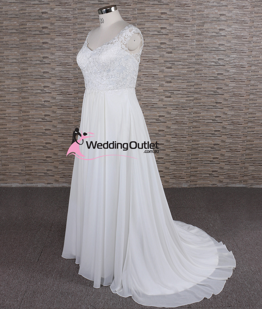 Morgan simple lace beach bridal gown for Cheap wedding dress outlets