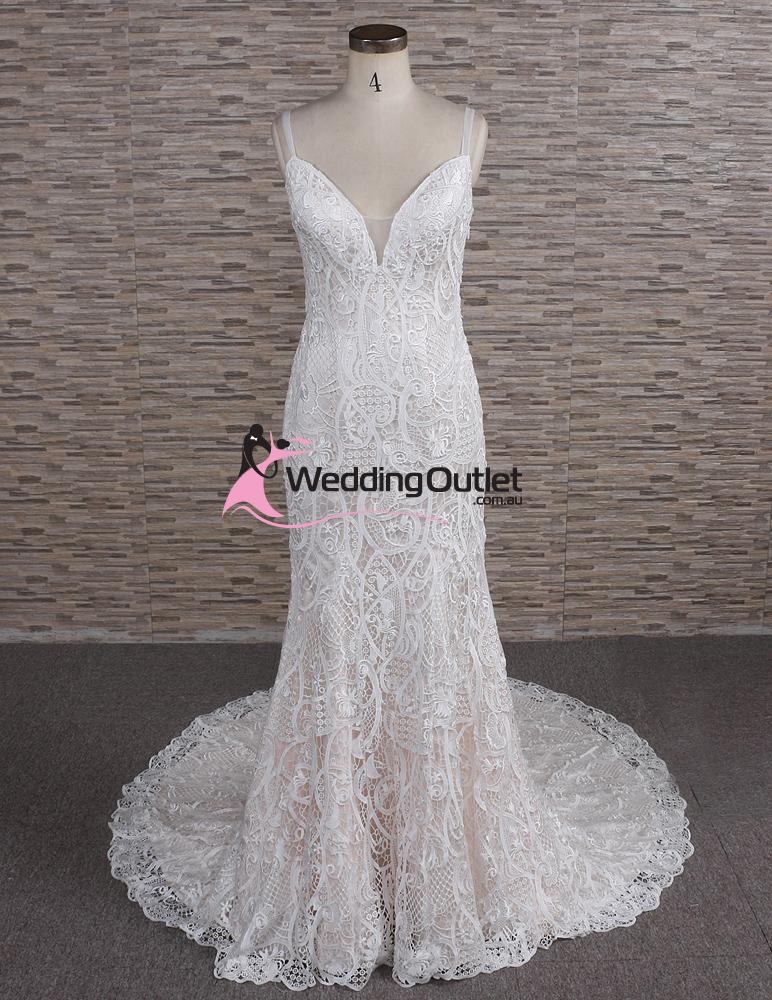 Autumn Vintage Lace Champagne Wedding Dress