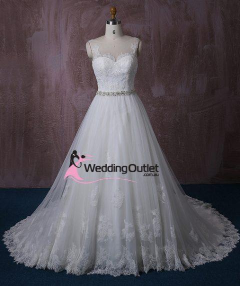 Gianna Princess Sleeve Wedding Dress with Sash