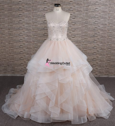 Arna Layer Ruffle Wedding Dress Champagne