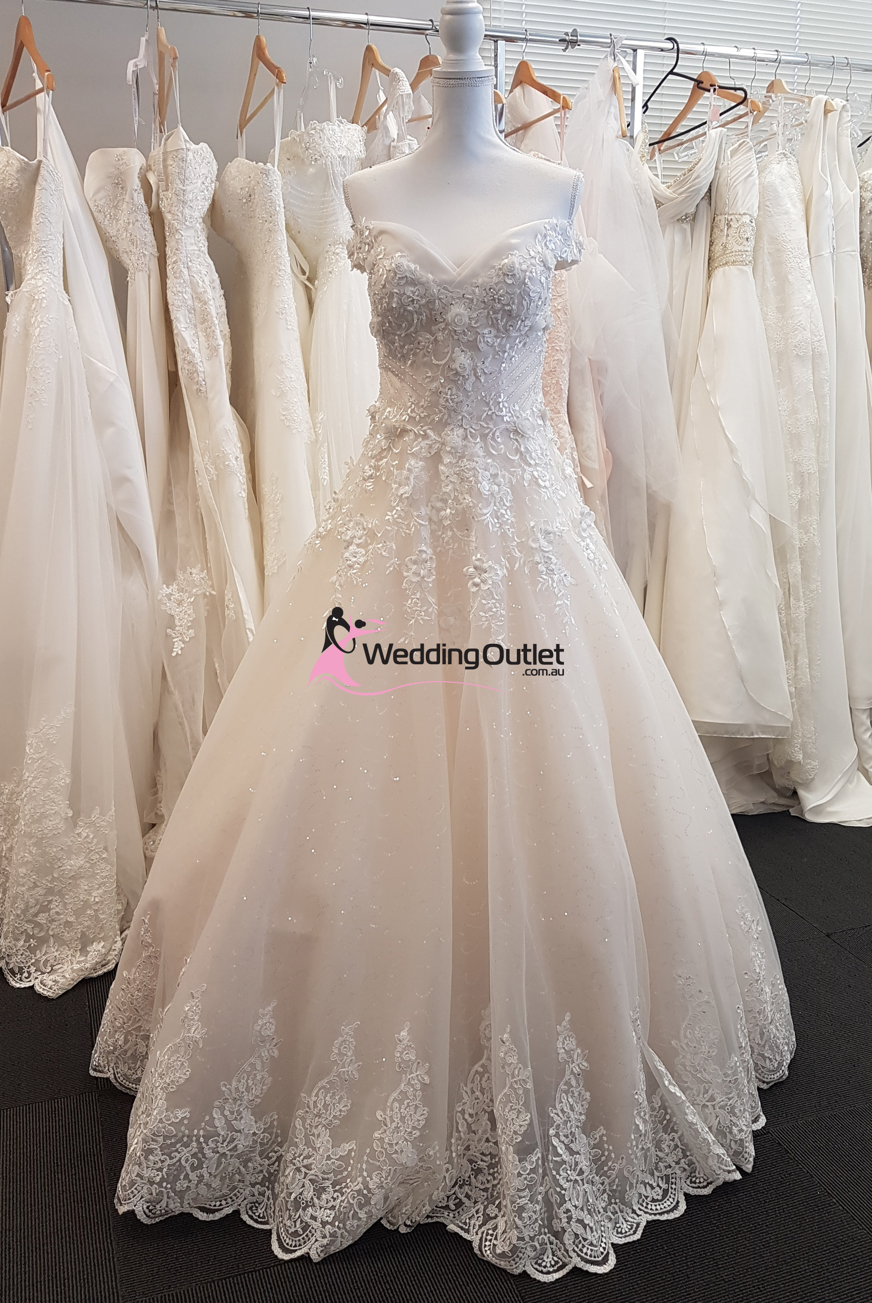 Kinley Off Shoulder Champagne Lace Bridal Gown - WeddingOutlet.com.au