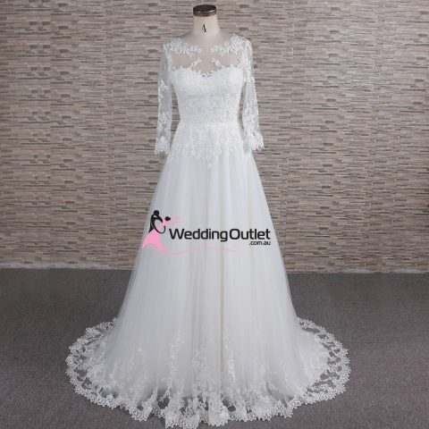 Milan Illusion Aline Long Sleeve Wedding Dress