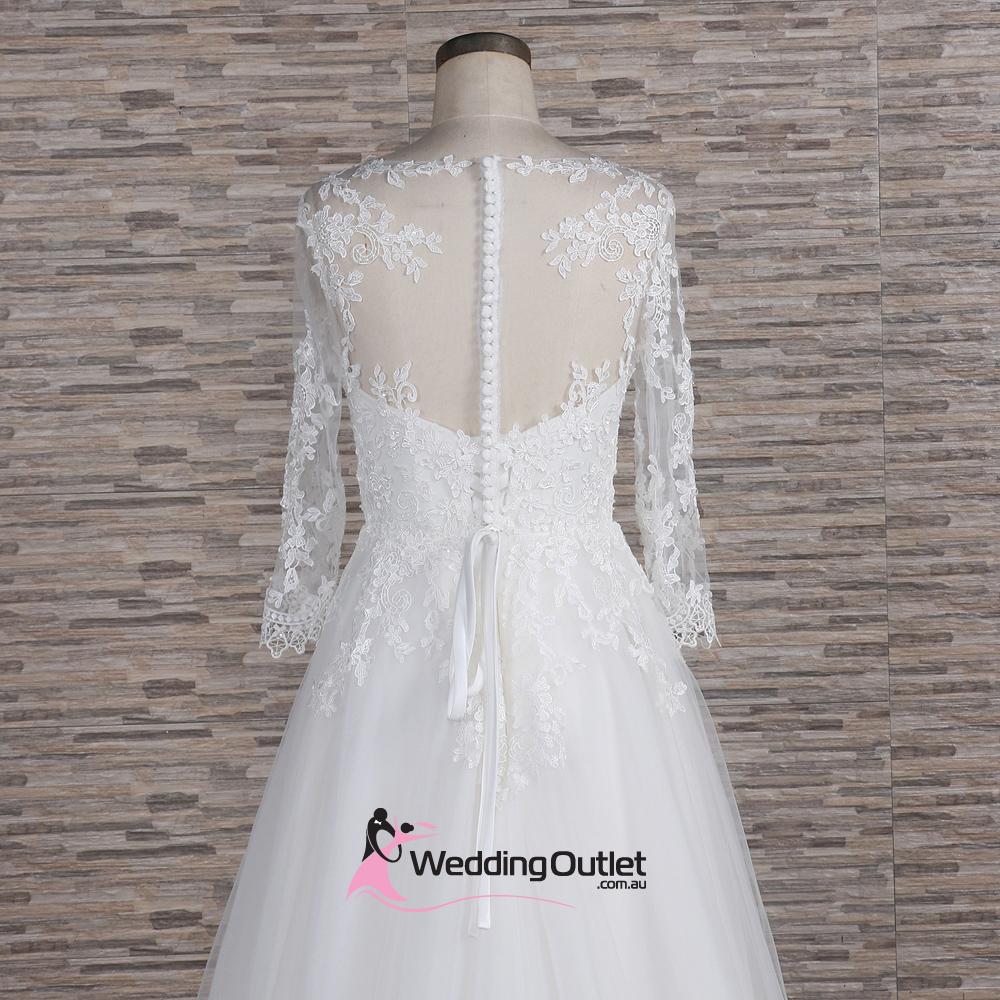 Aline Wedding Gown: Milan Illusion Aline Long Sleeve Wedding Dress