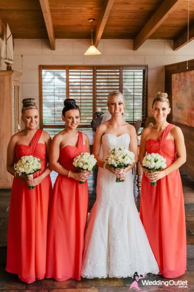 Peach, Coral & Yellow - Bridesmaid Dresses