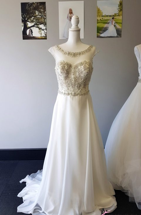 Bari Beaded with Lace Simple Aline Dress