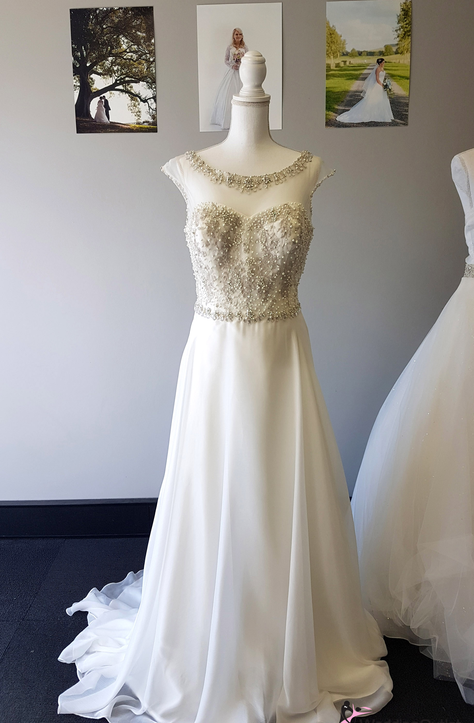 Bari beaded with lace simple aline dress weddingoutlet for Wedding dress warehouse sale