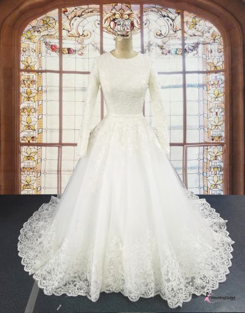 Aida Wedding Dress with Fully Covered Sleeves
