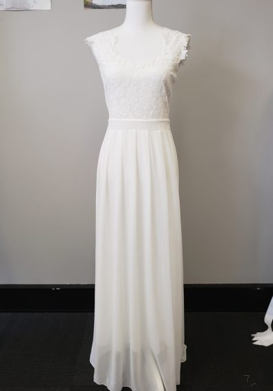Ella Lace and Chiffon Simple Wedding Gown