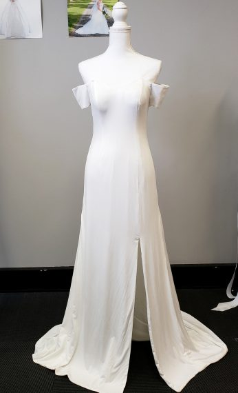 Cleo Stretch Satin Plain Wedding Dress