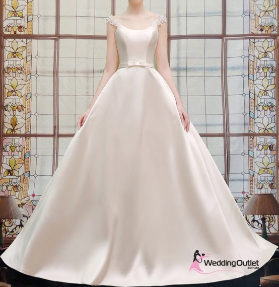 Nima Simple Satin Wedding Dress with Sleeves
