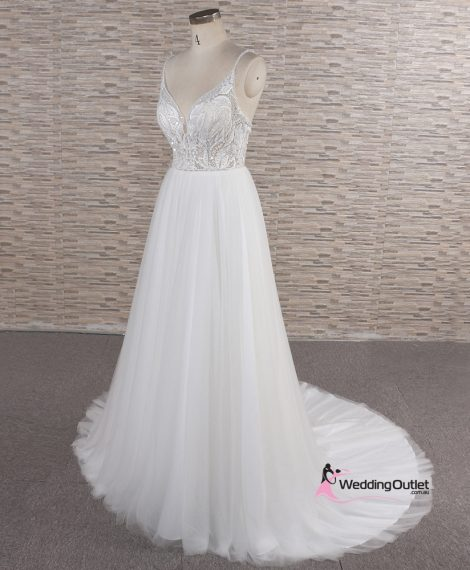 Butterfly Spaghetti Strap Beaded Wedding Dress