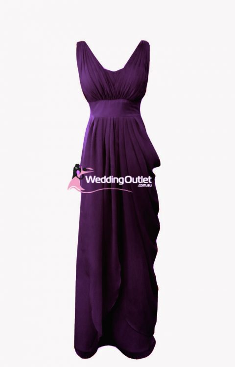 Acai Purple Sleeved Bridesmaid Dreses Style #C102