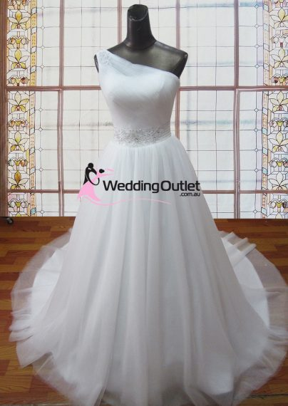 Beverly one shoulder tulle wedding dress