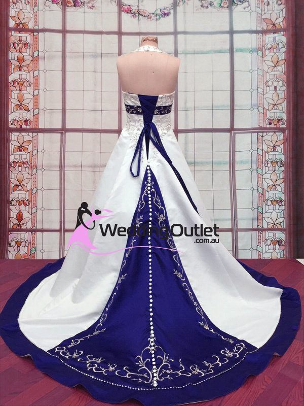 Liana Blue and White Wedding Dress with embroidery