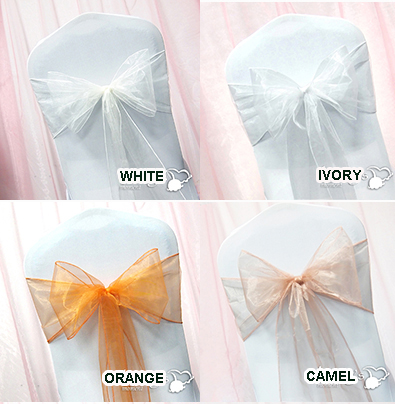 Chair Sashes White Ivory Peach 10/Pack