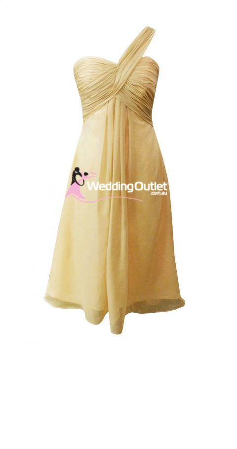 Champagne Tea Length Bridesmaid Dresses style #F101