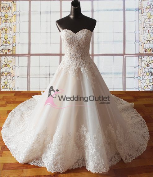 Lacey champagne lace princess wedding dresses