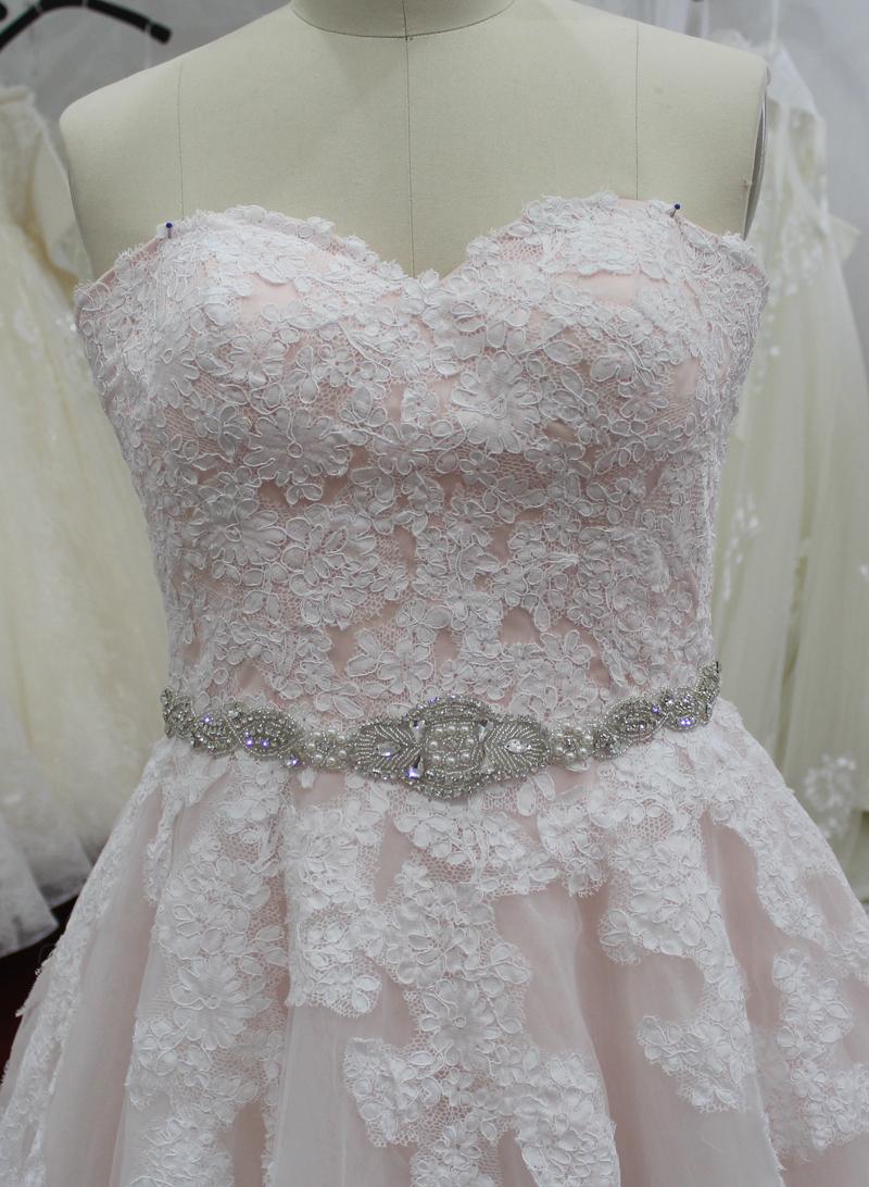 Skylar Champagne Strapless Wedding Dress with Sash