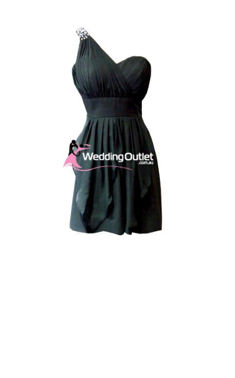 Charcoal Grey Short Bridesmaid Dresses Style #C104