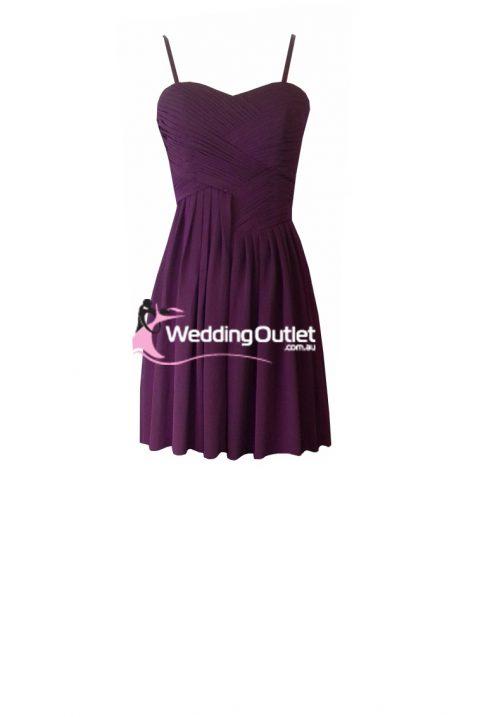Plum Purple Cocktail Bridesmaid Dresses Style #AF101