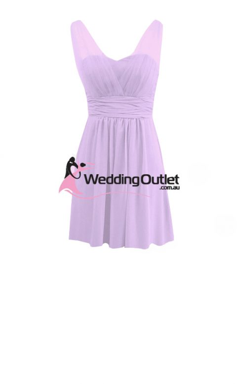 Lilac Purple Cocktail Bridesmaid Dresses style #AK101