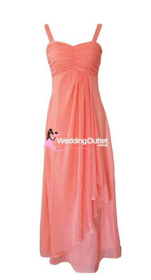 Coral Bridesmaid Dress Style #G101 No sequins on sleeves