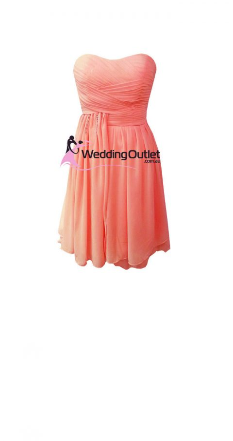 Coral Short Strapless Bridesmaid Dresses Style #AC101