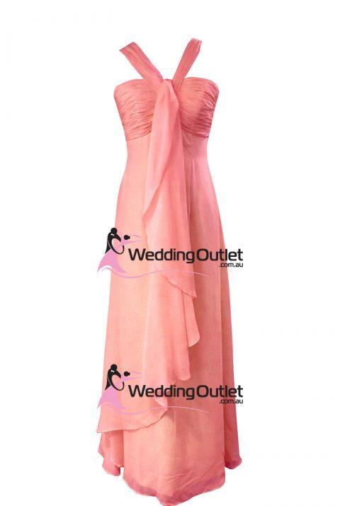 Coral Pink Halter Neck Bridesmaid Dresses Style #AL101