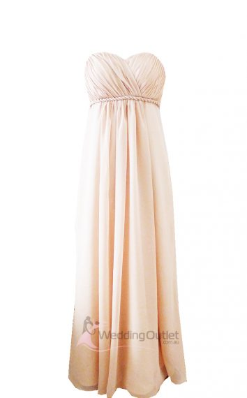 Cream sweet heart maxi bridesmaid dress Style #D101