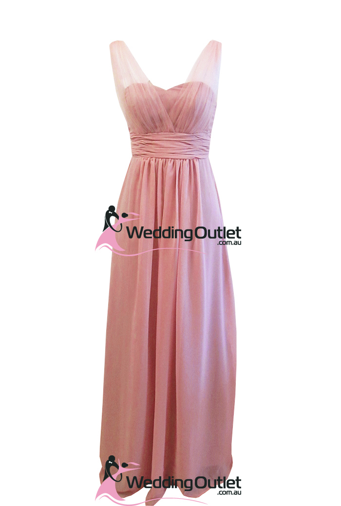 Dusty Pink Evening Bridesmaid Dresses Tulle Sleeves Style #AK101