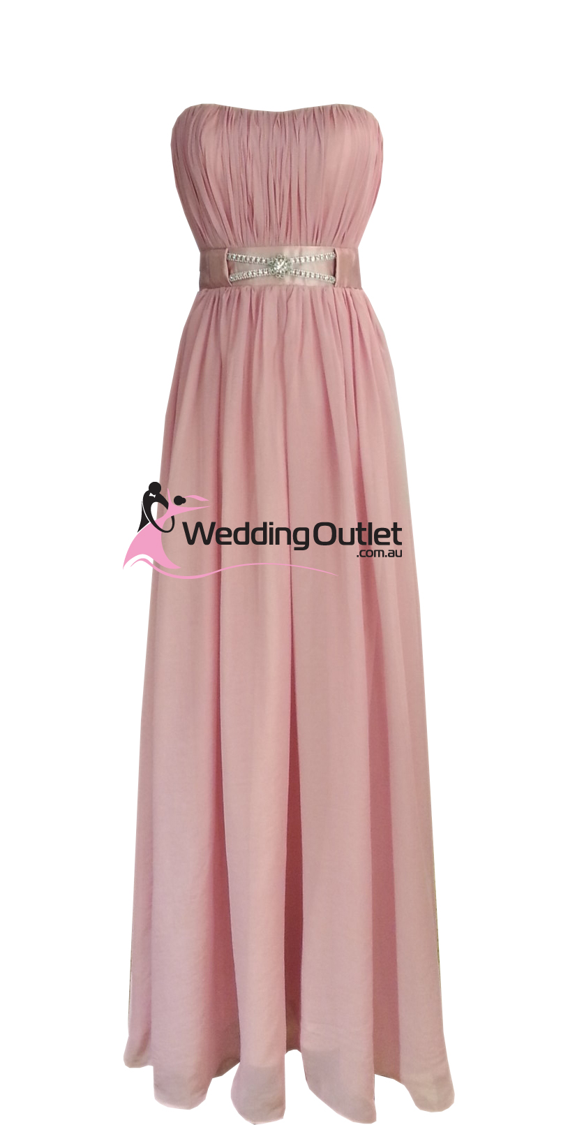 Dusty Pink Strapless Bridesmaid Dresses Style #V101 - WeddingOutlet ...
