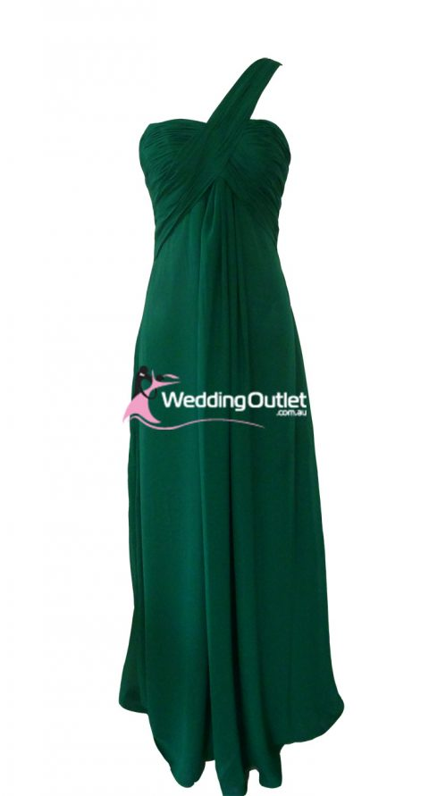 Emerald one shoulder bridesmaid dress Style #F101