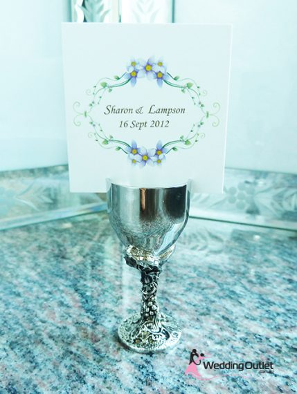 Name card holder goblet wine cup wedding favours