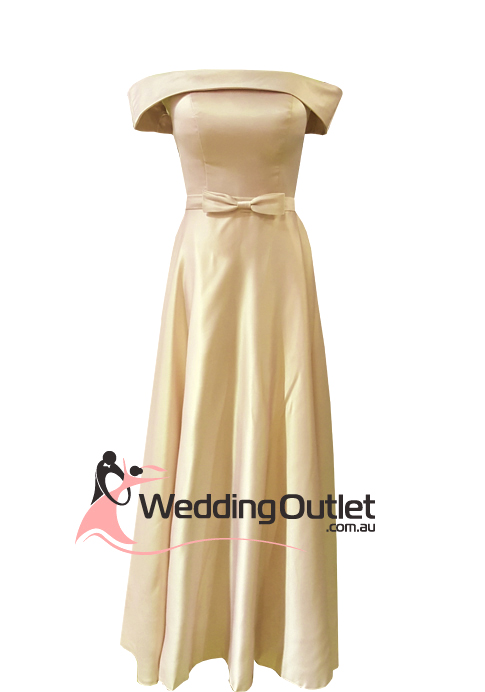Gold off shoulder satin evening dress style #BC101