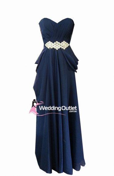 Midnight blue evening gown and bridesmaid dress Style #I101