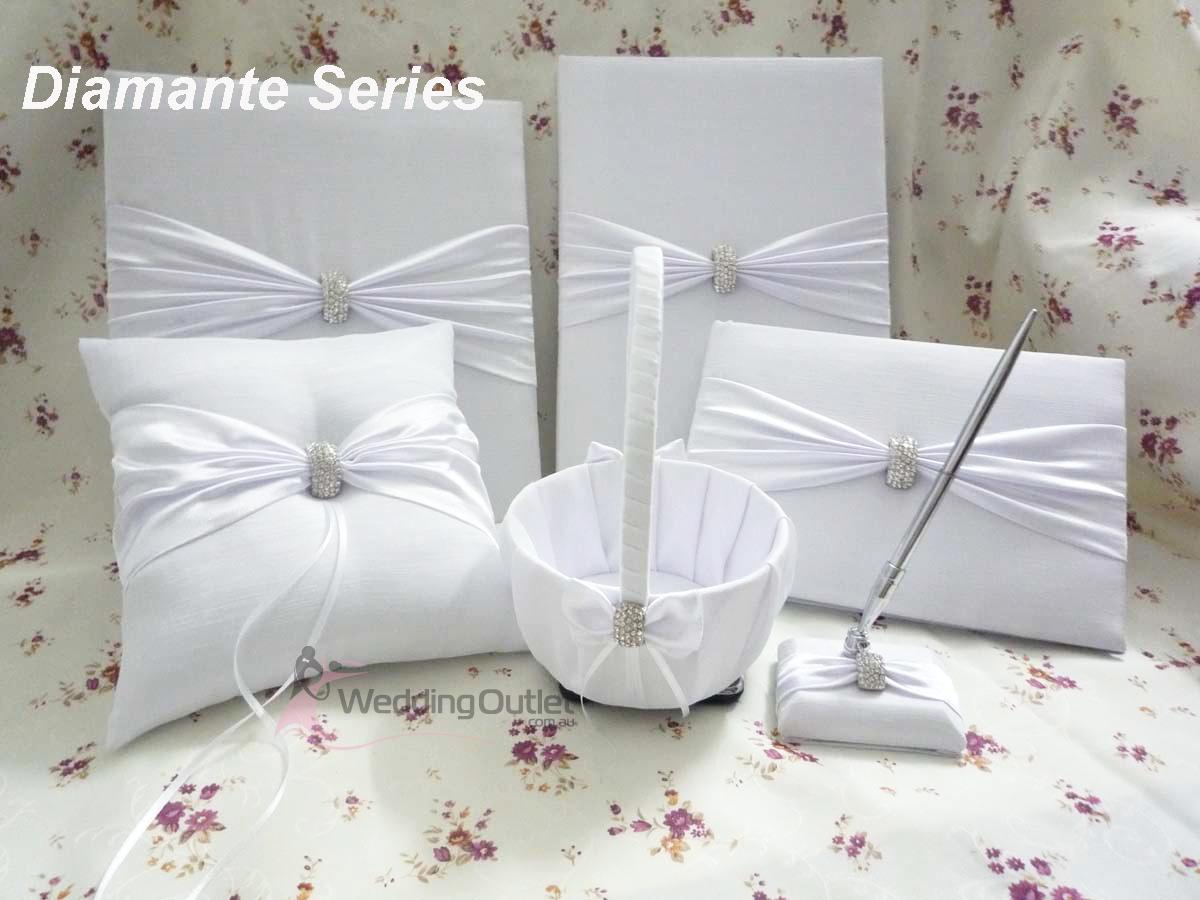 Ring Pillow, Pen, Guest Book Diamante Series